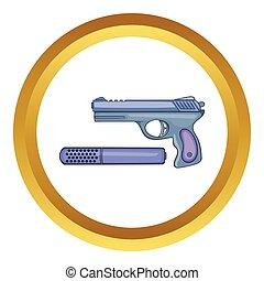 Pistol and silencer vector icon