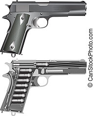 Detailed pistol scheme isolated on white(vector illustration)