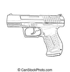 Pistol - vector illustration.