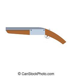 Pistol flintlock gun vector illustration firearm old isolated. Military barrel shot weapon icon. Handgun design