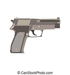 Pistol gun vector vintage illustration western white handgun weapon shooter