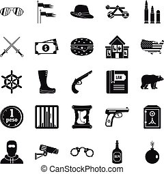 Pistol icons set, simple style