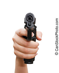 Pistol in a female hand isolated on white