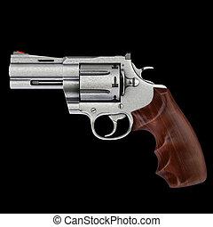 pistol isolated on black background.