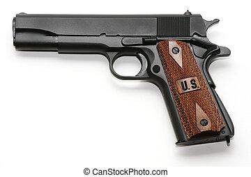 Pistol isolated on white - Semi-automatic pistol isolated on...