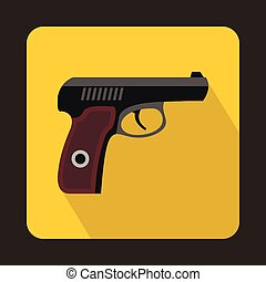Pistol military weapon icon, flat style
