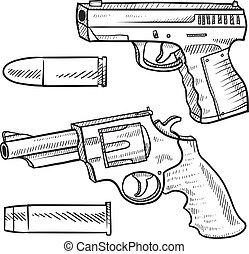 Doodle style pistol or handgun sketch including an automatic and a revolver in vector format. Also included are bullets.