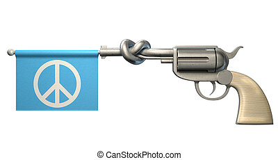 Pistol Peace Flag - A six shooter gun with a knotted barrel...