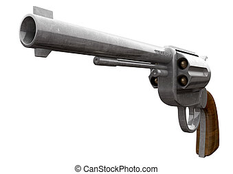 Pistol Perspective - An old metal pistol with a wooden...