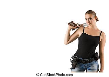 Pistol shooting on white background. Sportsman with a gun. Sport pistol shooting.
