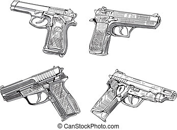 Pistol sketches. Set of black and white vector illustrations...