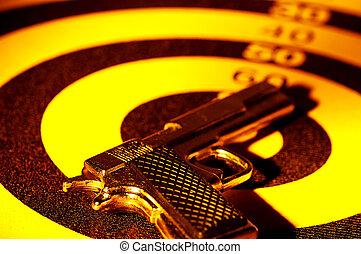 Pistol on a Target.