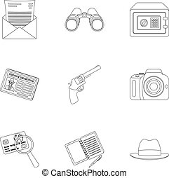 Pistol, tube, identification, magnifier and other attributes. Detective set collection icons in outline style vector symbol stock illustration web.