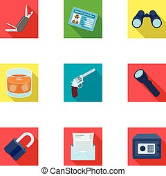 Pistol, tube, identification, magnifier and other attributes. Detective set collection icons in flat style vector symbol stock illustration web.