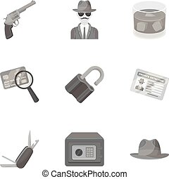 Pistol, tube, identification, magnifier and other attributes. Detective set collection icons in monochrome style vector symbol stock illustration web.