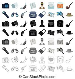 Pistol, tube, identification, magnifier and other attributes. Detective set collection icons in cartoon style vector symbol stock illustration web.