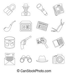 Pistol, tube, identification, magnifier and other attributes. Detective set collection icons in line style vector symbol stock illustration web.