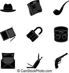 Pistol, tube, identification, magnifier and other attributes. Detective set collection icons in black style vector symbol stock illustration web.