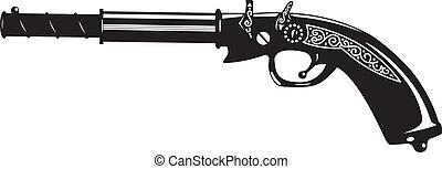 pistol. - vector illustration of an old gun. black and...
