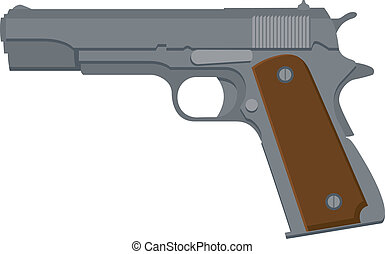 Pistol - Vector illustration of a 1911-style automatic ...