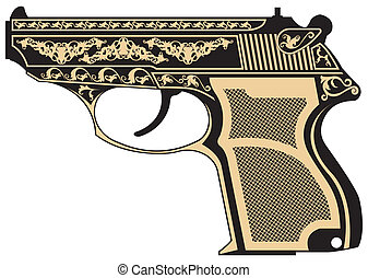 Pistol with a pattern - The vector image of Pistol with a...