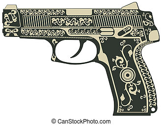 Pistol with a pattern - vector image of Pistol with a...