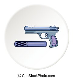 Pistol with a silencer icon, cartoon style