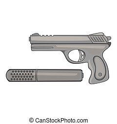 Pistol with a silencer icon, monochrome style
