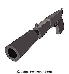 Pistol with silencer cartoon icon