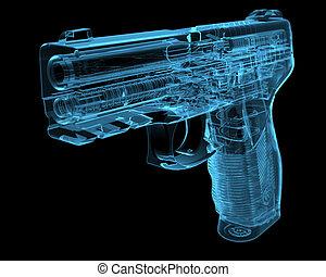 pistola, (3d, radiografía, azul, transparent)