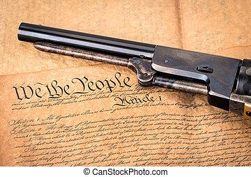 pistola, antigas, constituição, título, pretas, pó, cópia