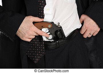 pistola, calças