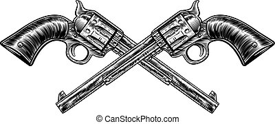 pistola, cruzado, armas de fuego