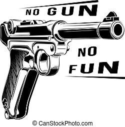 pistola, emblema, no, luger, parabellum, arma de fuego, retro, vector., diversión, p08, logo.