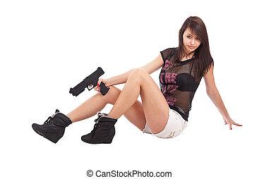 pistola, segurando, mulher