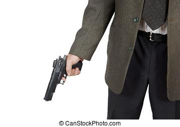 pistola, seu, segura, homem, mão