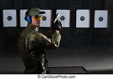 pistola tiro, uomo