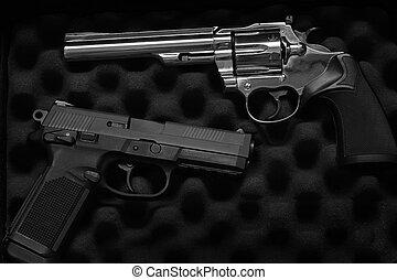 pistolas, handguns, dois, defesa self, militar, ou
