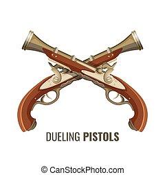 pistolas, vendimia, metal, lujoso, madera, diseño, batir duelo