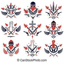 pistole, armi, anarchia, logotipo, disegno, cranio, pugno, revolutionary., emblema, elementi, pallottole, vettore, aggressivo, stretto, differente, o, caos, forte, tatuaggio, ribelle