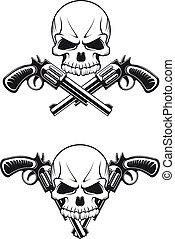 pistole, cranio