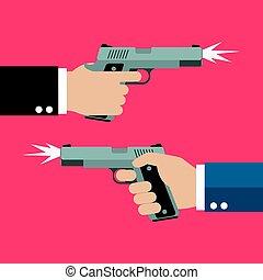 pistole, due, tenere mani