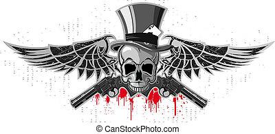 pistole, emblema, cranio