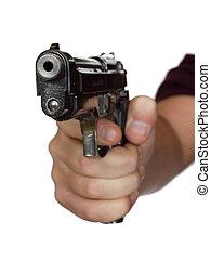 pistole, in, hand