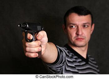 pistole, mann