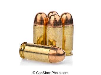 pistole, pallottola, munizioni, metallo, .45, giacca, pieno, cartucce, acp