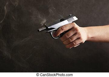 pistole, schwarz