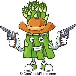 pistole, sorridente, asparago, cowboy icona, presa a terra, mascotte