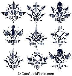 pistole, tumulto, armi, logotipo, disegno, cranio, pugno, revolutionary., emblema, elementi, pallottole, vettore, aggressivo, stretto, differente, o, forte, tatuaggio, ribelle, rivoluzione