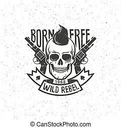 pistolen, rebel, schedel